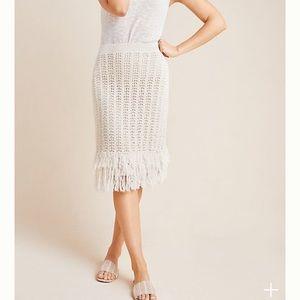 Maeve by Anthropologie Cream Crochet skirt